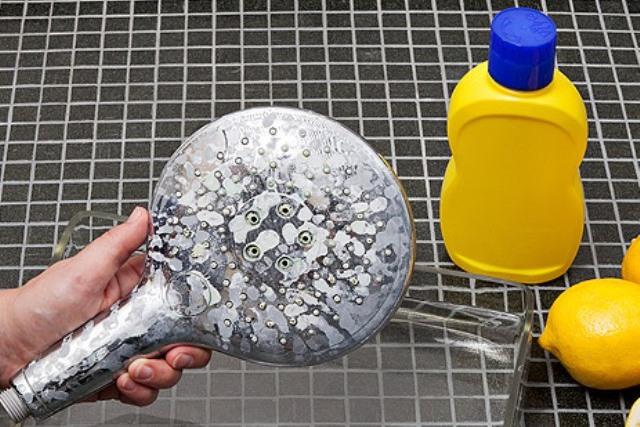 Как почистить душевую лейку?
